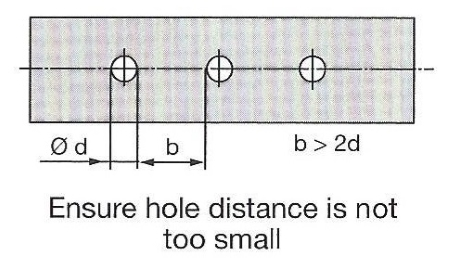 Ensure hole distance is not too small.