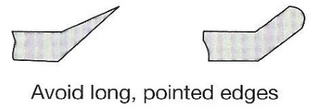 Avoid long, pointed edges.